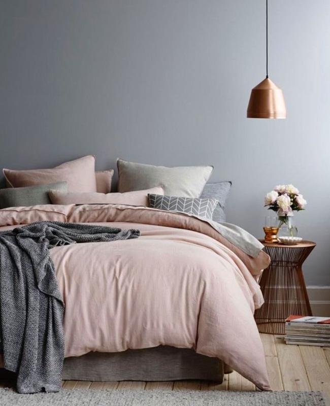 deco chambre gris beige rose