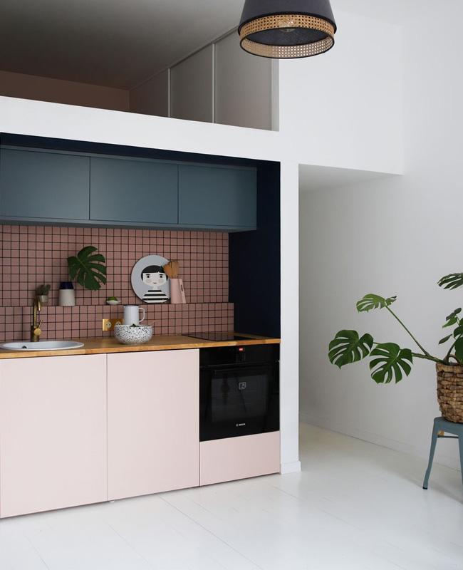 deco cuisine moderne rose bleu