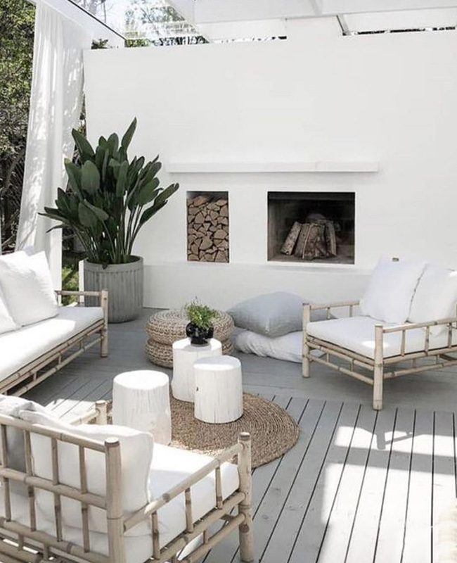 deco terrasse blanc bambou