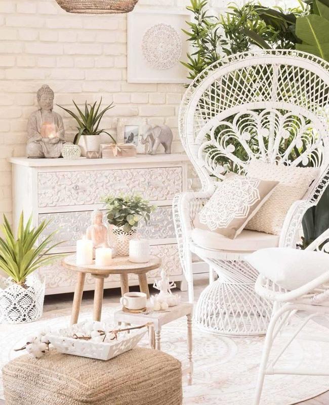 fauteuil rotin blanc deco salon