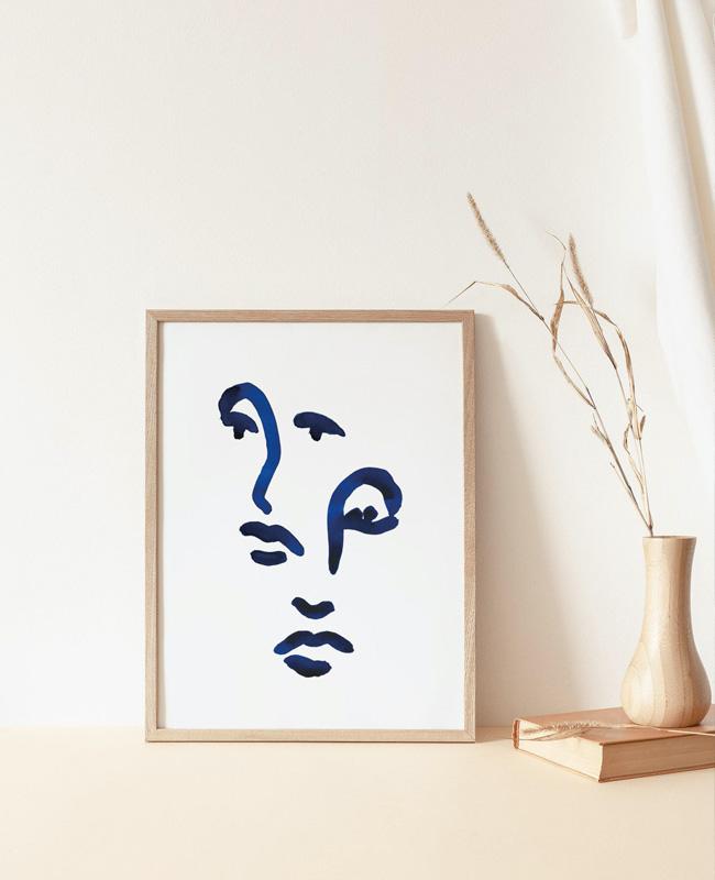 affiche visage bleu