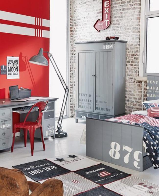 deco chambre ado industrielle gris rouge