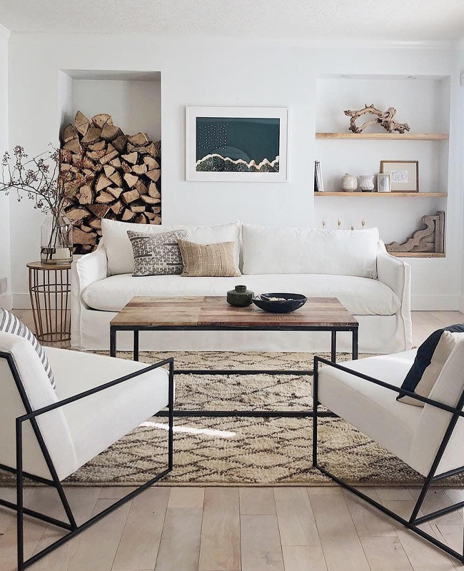 deco salon blanc bois  scandinave nature