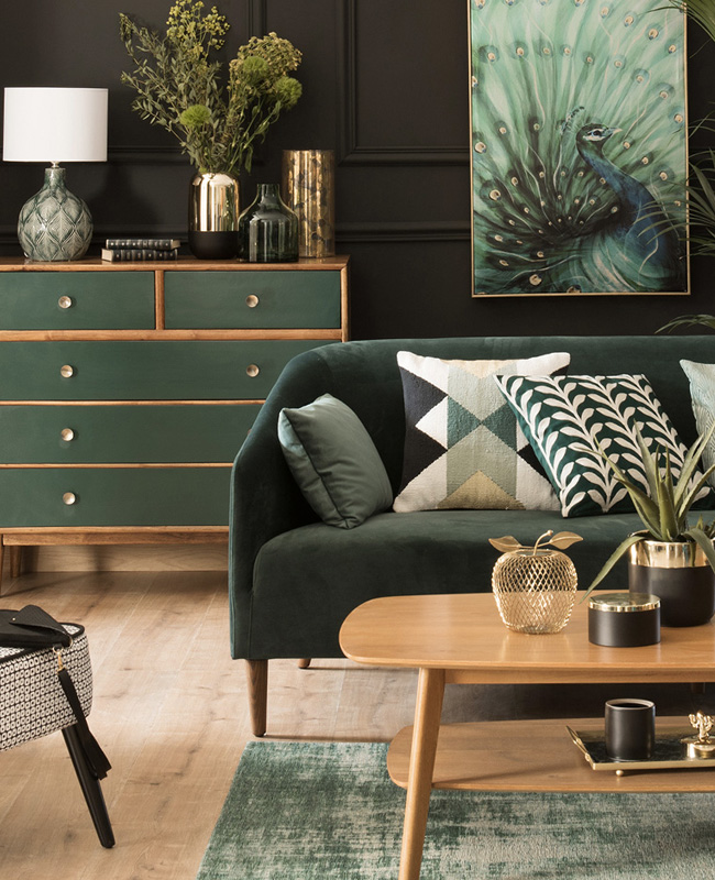deco salon vintage vert