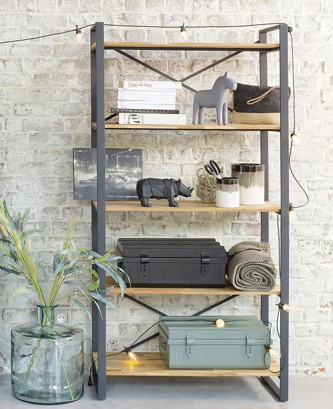 bibliothèque industrielle metal noir bois