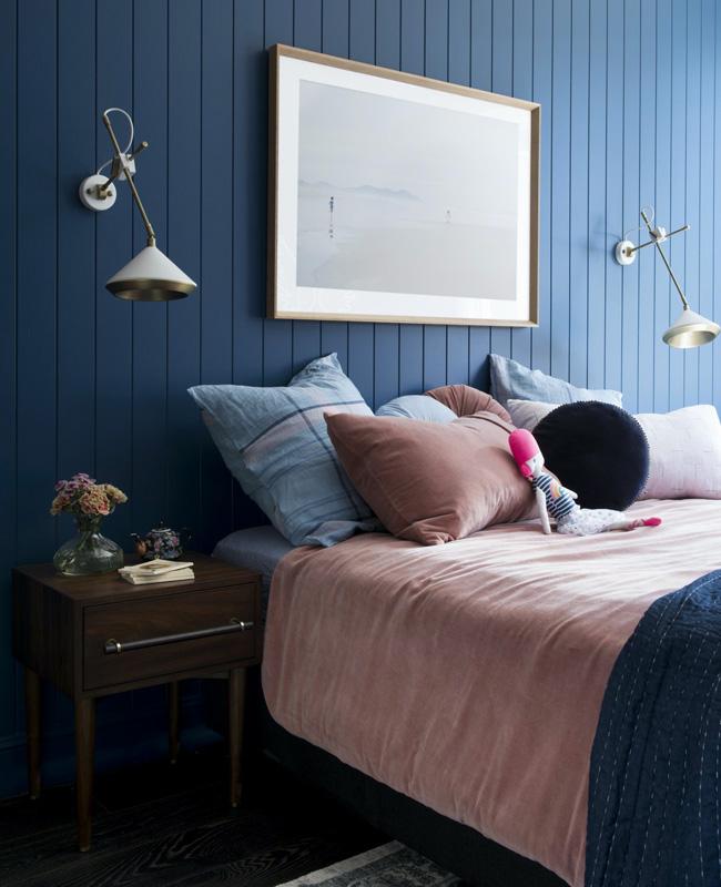chambre bleu rose poudre