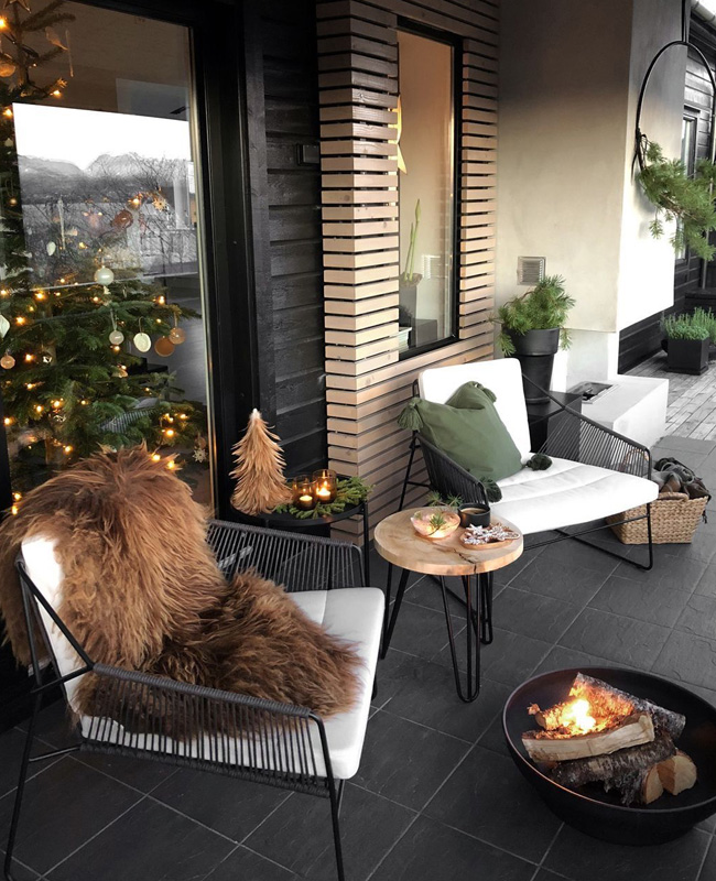 deco balcon moderne cosy fausse fourrure