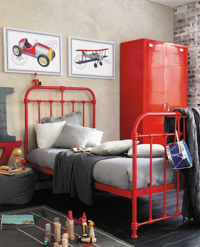 deco chambre ado gris rouge metal