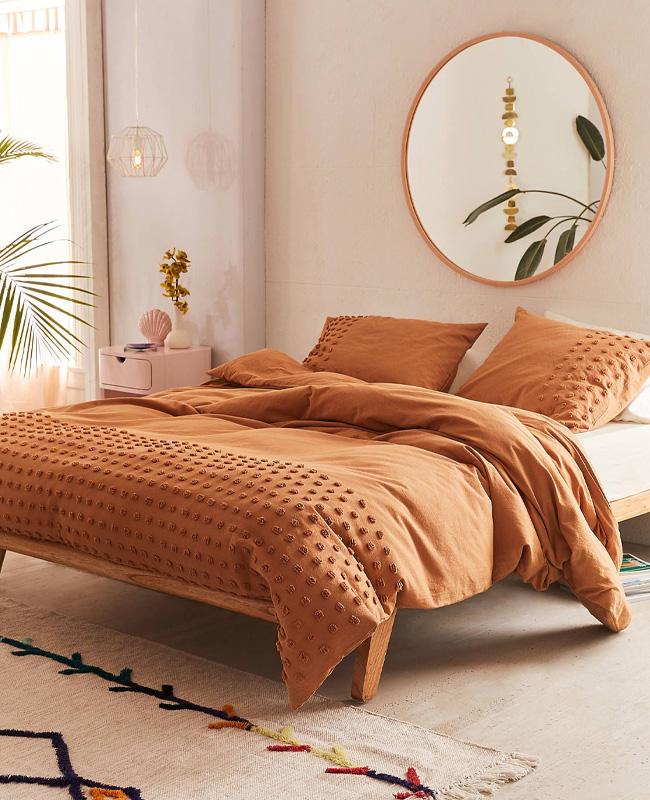 deco chambre boheme linge de lit terracotta
