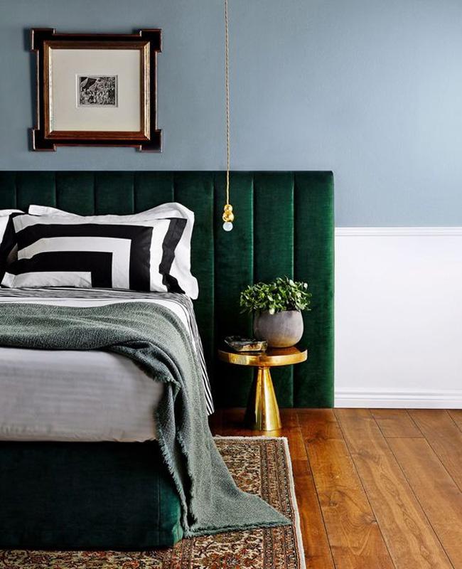 deco chambre vert canard bleu pastel tete de lit
