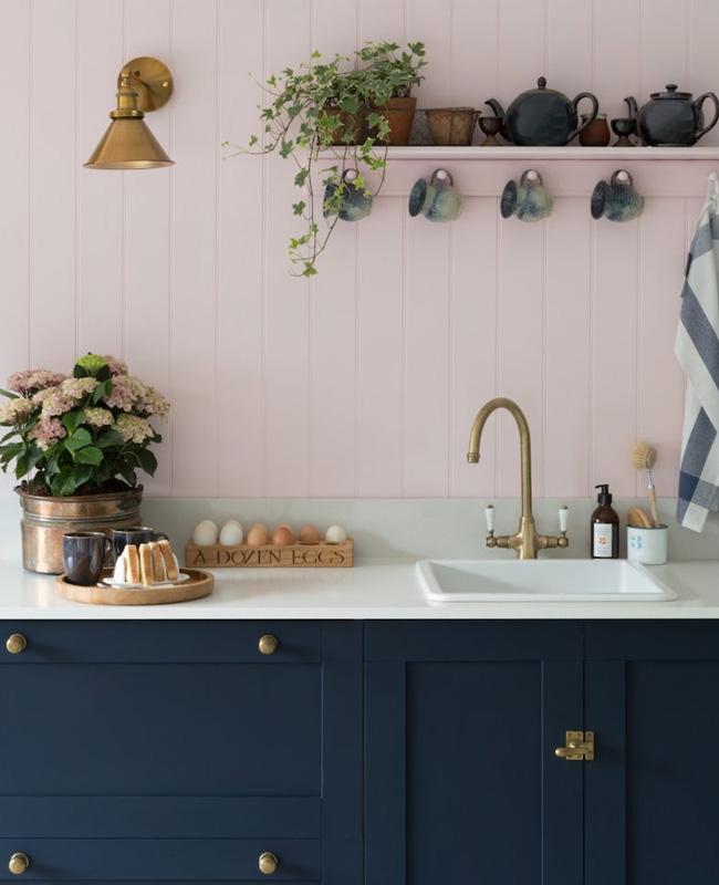 deco cuisine campagne rose bleu