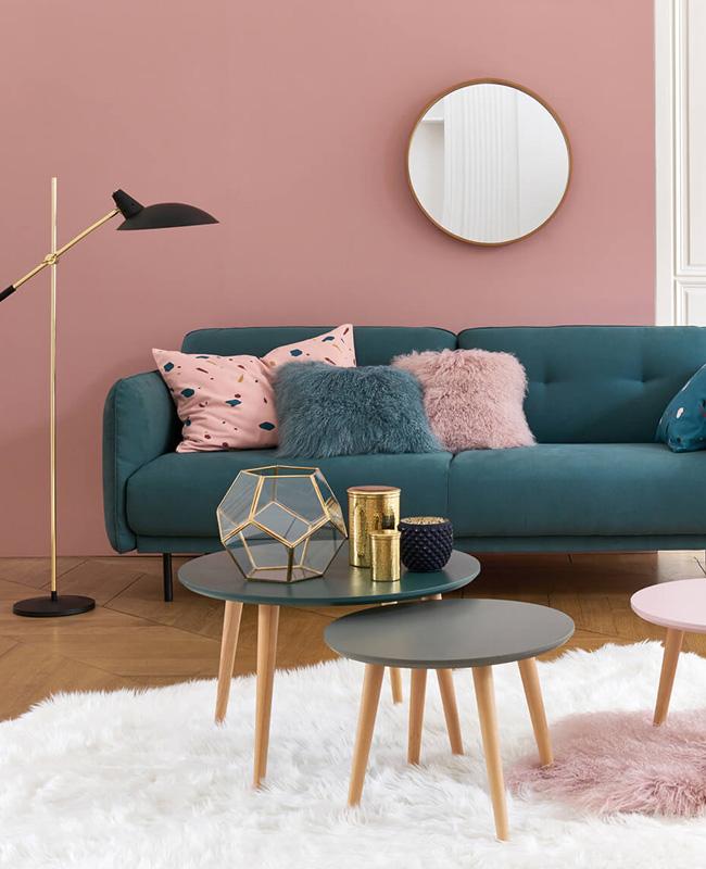 deco salon scandinave bleu canard rose