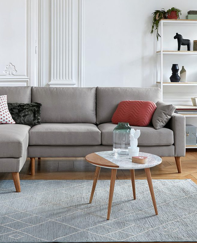 table basse marbre bois scandinave