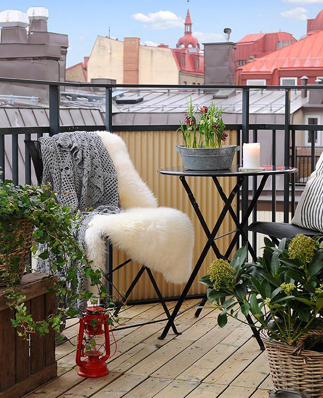 deco balcon cosy fausse fourrure