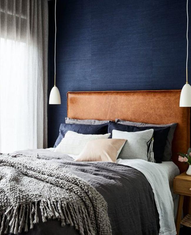 deco chambre bleu cuir