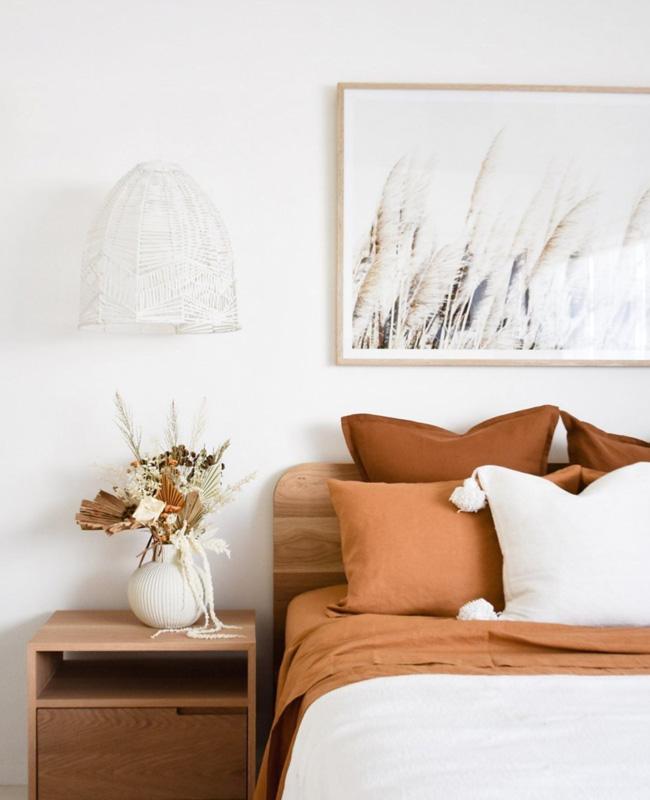 linge de lit terracotta blanc deco chambre
