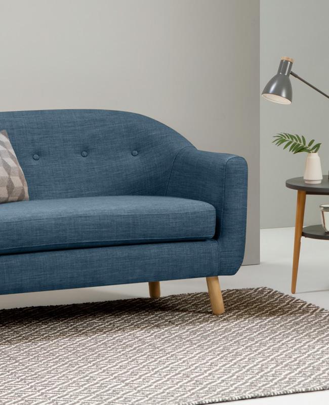 petit canape bleu scandinave