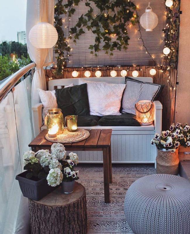 balcon cosy guirlande lumineuse