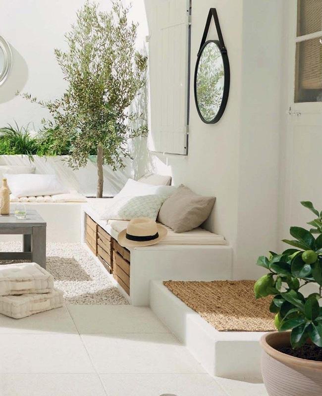 banc integre deco terrasse blanc