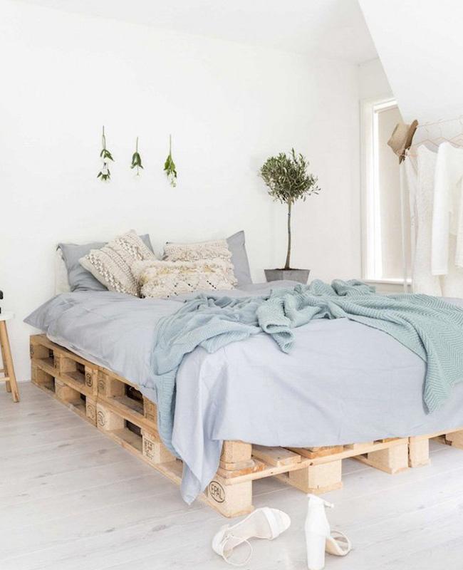 deco chambre bleu linge de lit lin