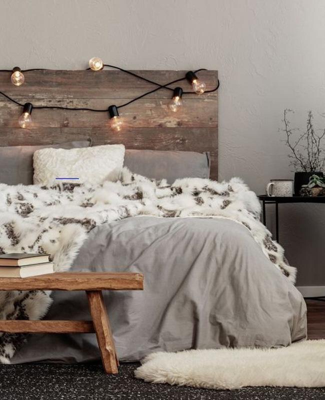 guirlande lit deco chambre cosy