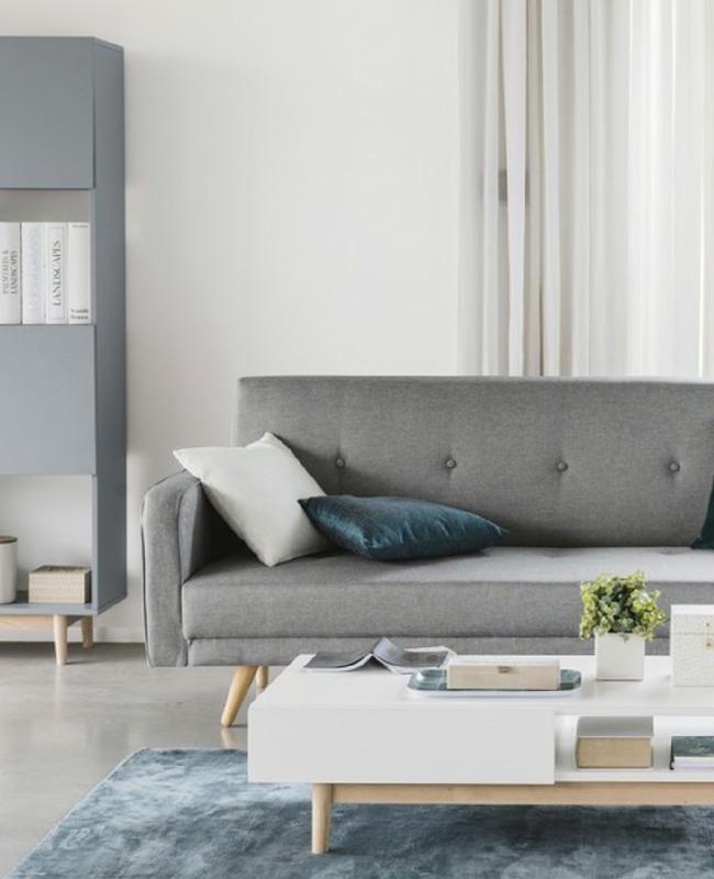 table basse scandinave blanc bois deux tiroirs