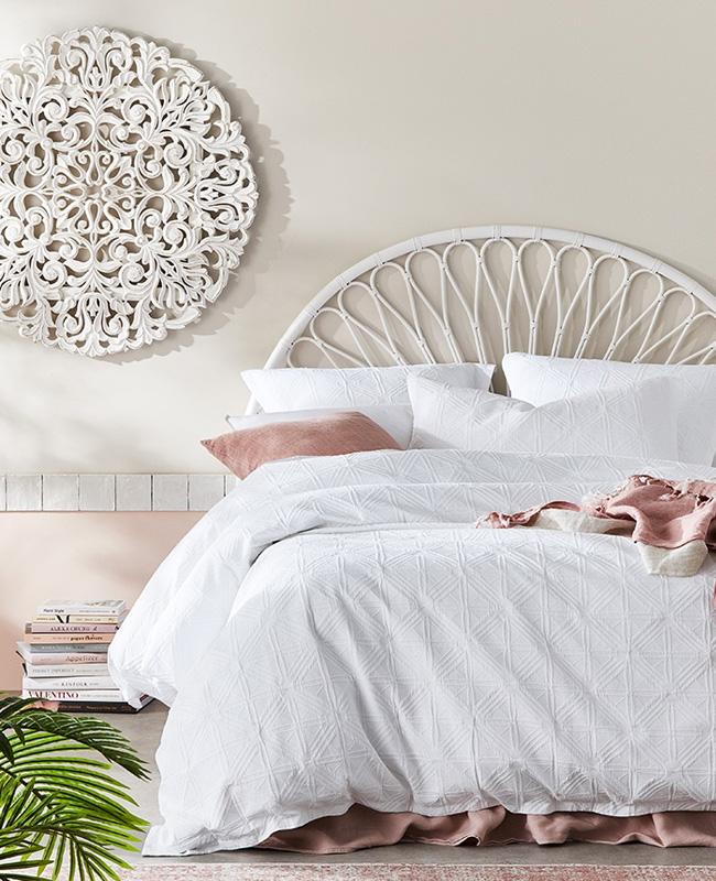 tete de lit deco chambre rotin blanc
