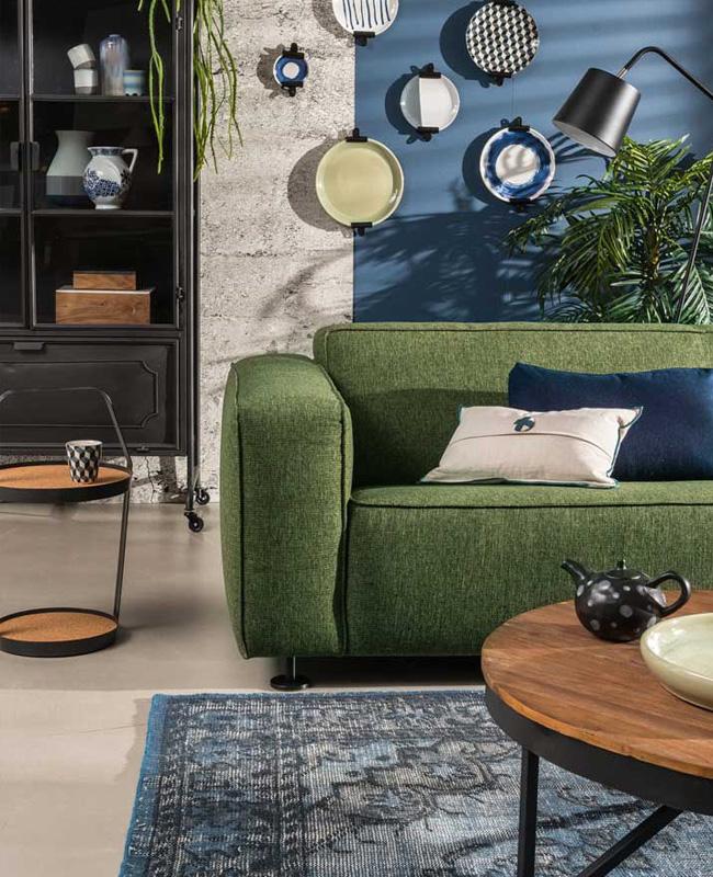 deco salon vert moderne canape
