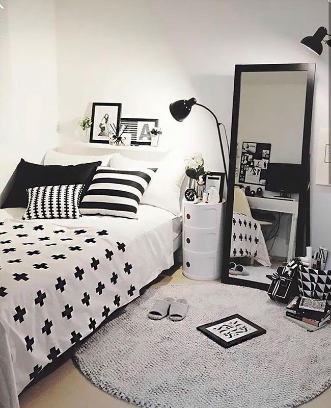 deco scandinave chambre ado noir blanc