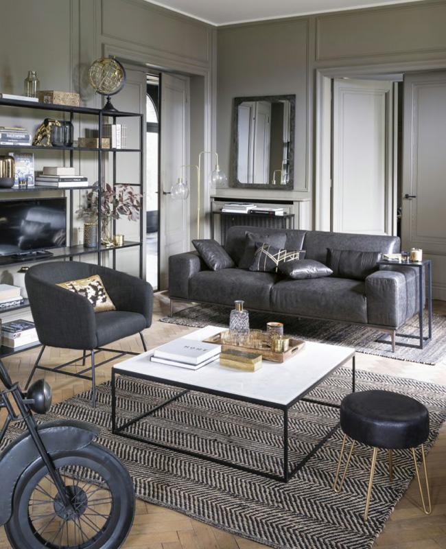 canape moderne cuir noir