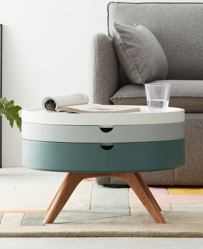 table basse scandinave gris plateaux