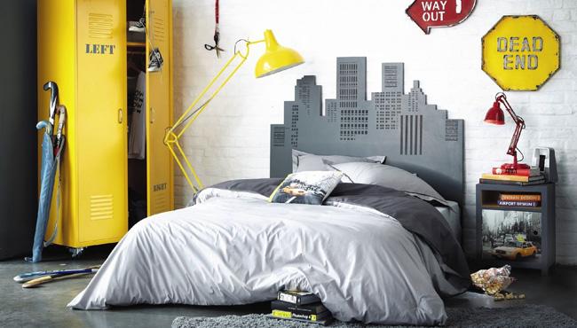 deco chambre ado jaune gris