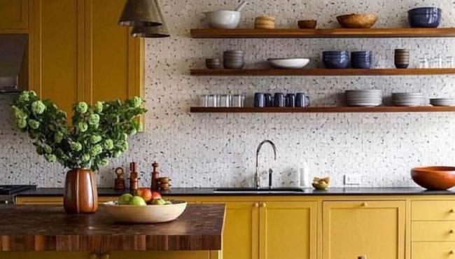 deco cuisine jaune moutarde gris