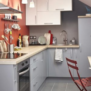 deco cuisine rouge gris