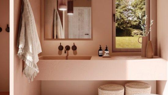 deco salle de bain gris rose
