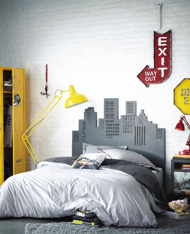 deco chambre ado New York jaune gris