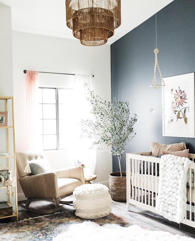 deco chambre bebe bleu boheme