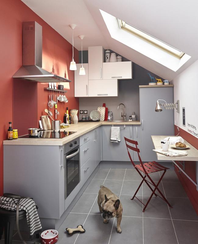 deco cuisine rouge gris moderne