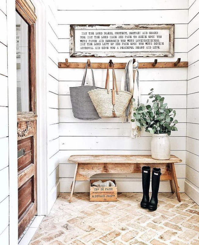 deco entree campagne chic blanc bois