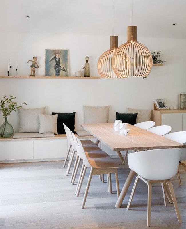 deco salle a manger moderne blanc bois
