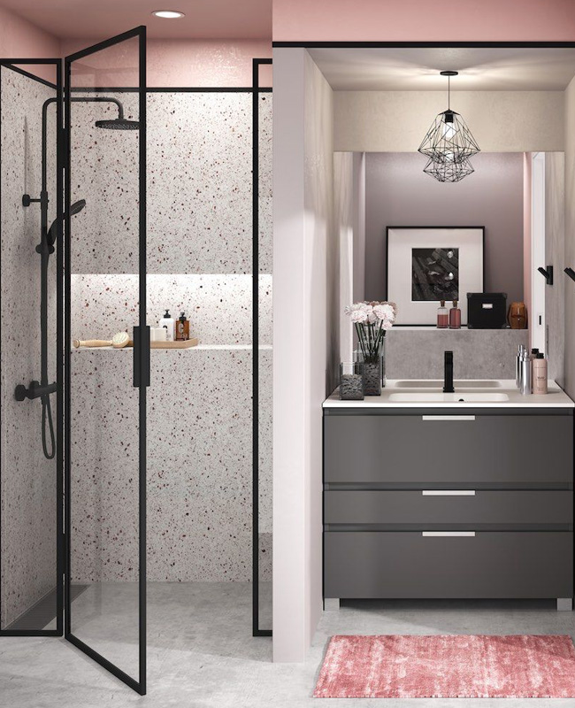 deco salle de bain gris rose terrazzo