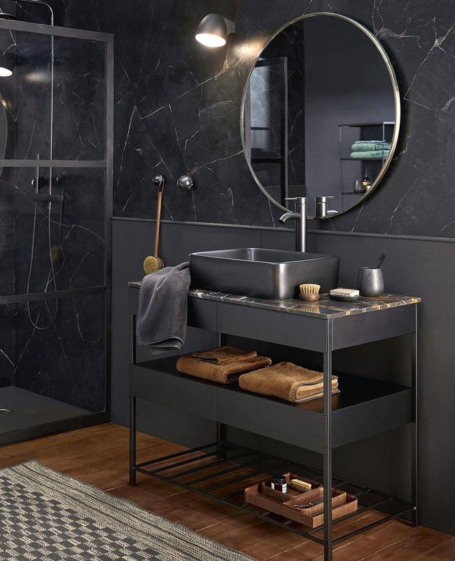 deco salle de bain moderne marbre noir