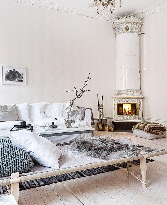 deco salon cosy blanc bois