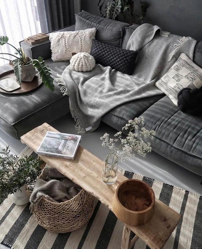 deco salon gris bois boheme