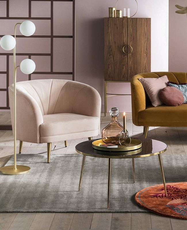 fauteuil rose velours art deco