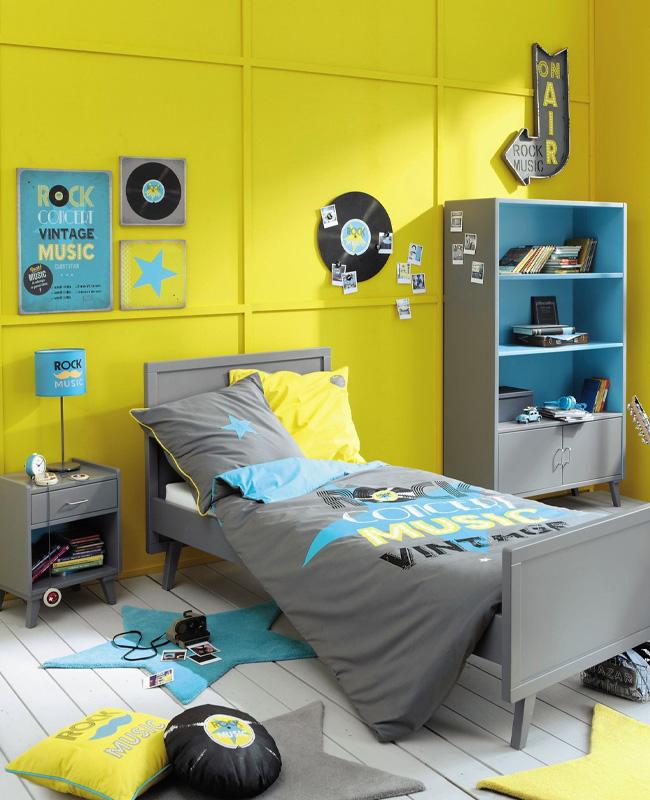 deco chambre ado jaune gris bleu