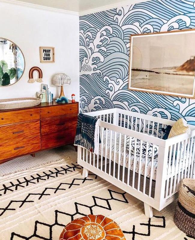 deco chambre bebe bleu papier peint
