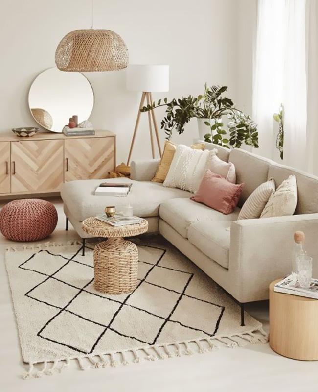 deco salon beige moderne cosy
