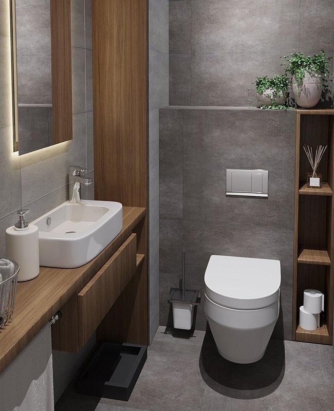 deco toilettes wc moderne gris bois