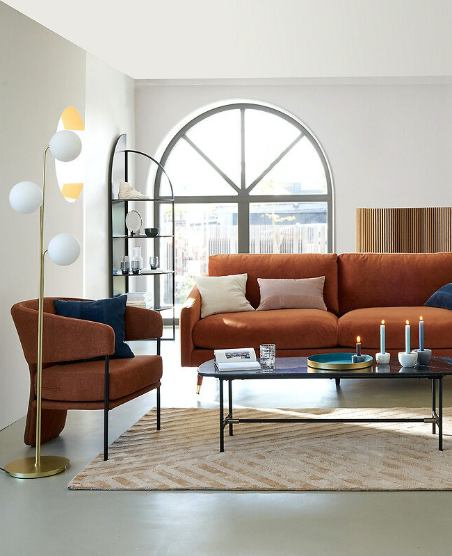 fauteuil moderne terracotta